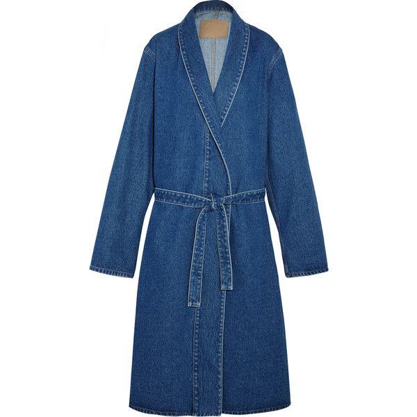 Balenciaga Belted denim coat ($905) ❤ liked on Polyvore featuring outerwear, coats, jackets, balenciaga coat, balenciaga, denim coat, belted coat and oversized coat