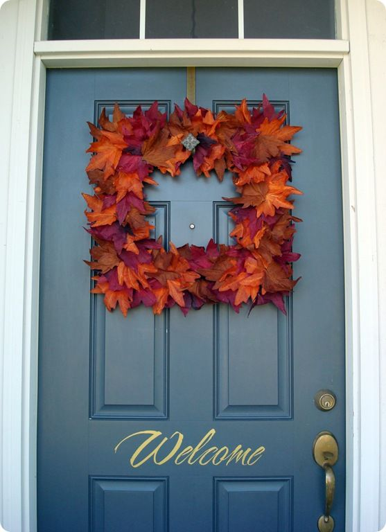fall door decorThe Doors, Fall Leaves, Fall Decor, Dollar Stores, Front Doors, Fall Wreaths, Autumn Wreaths, Diy, Squares Wreaths