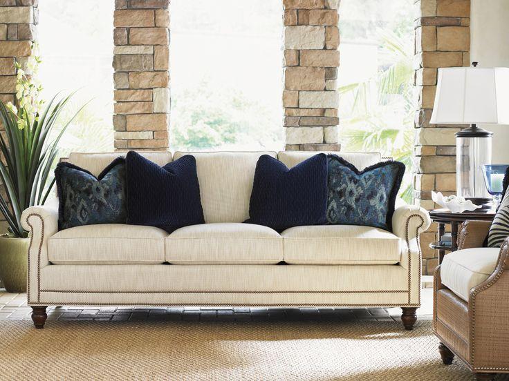 Landara Shoal Creek Sofa With Turned Legs And Nailhead Border By Tommy  Bahama Home At Hudsonu0027s Furniture