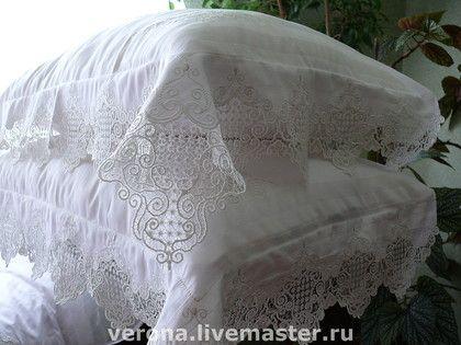 Текстиль, ковры ручной работы. Ярмарка Мастеров - ручная работа Постельное белье с вышивкой и кружевом. Handmade.