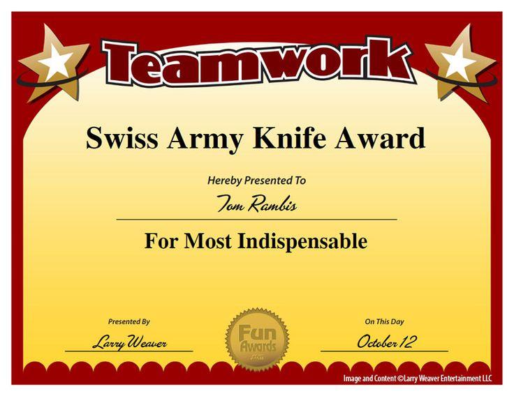 Swiss Army Knife Award