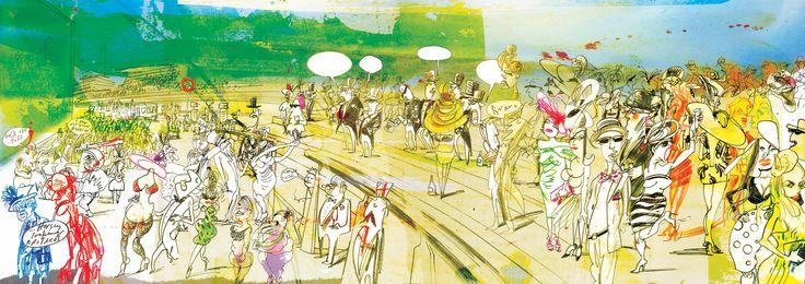 Simon Spilsbury | Illustrator | Central Illustration Agency #simon #spilsbury #people #scene #epsom #derby #race #goers #line #drawn #humorous #characters