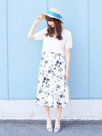 パステルカラーと花柄でガーリーに♡夏にぴったりの爽やかコーデ♪人気・おすすめ・トレンドのスカーチョのモテコーデ一覧♡