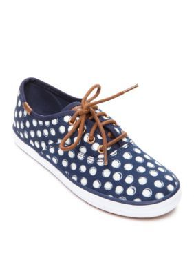 Keds Girls' Champion Navy Dots Sneakers - Youth Sizes - Blue - 12.5M Toddler