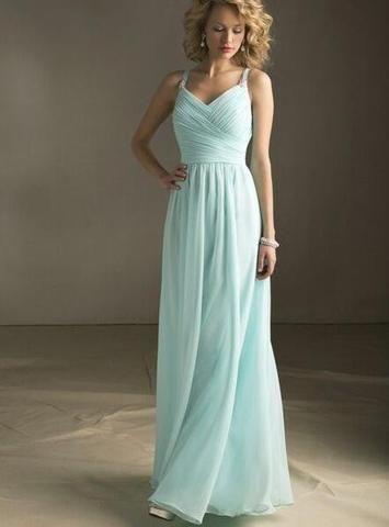 L28 Spaghetti Straps Long Chiffon Prom Gowns, Mint Chiffon Bridesmaid Dresses,Evening Dresses