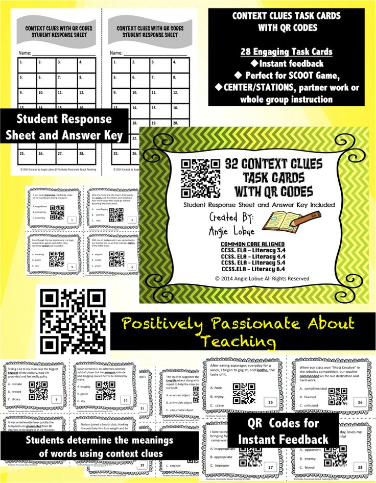 87 best moms homeschool research images on pinterest teacher context clues with qr codes task cards fandeluxe Images