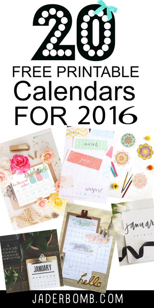 20 free printable calendars 2016 from MichaelsMakers Jaderbomb