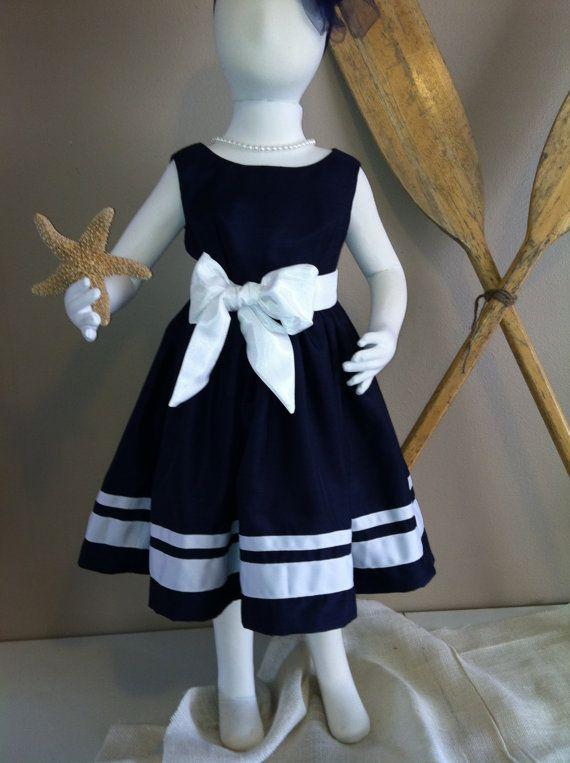 Navy Nautical Flower Girl Dress by jimandbettys on Etsy
