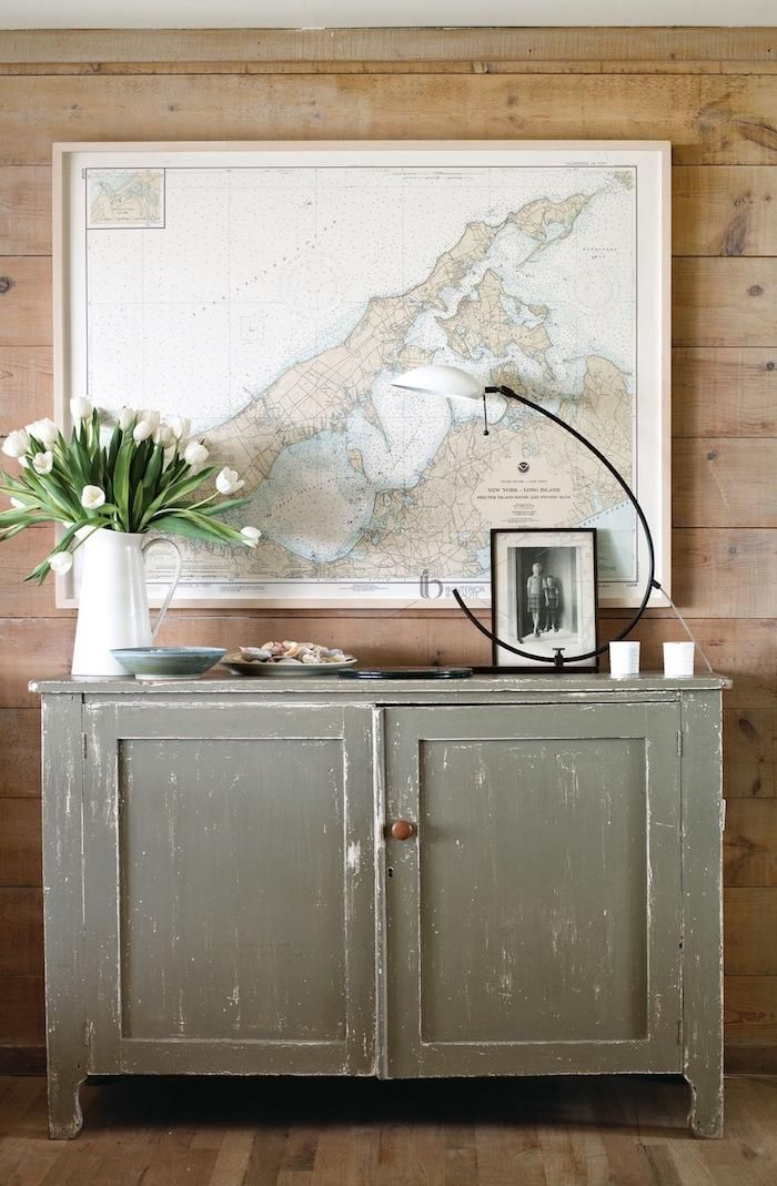 Cool.  A nautical map in the living room of Andrew Corrie and Harriet Maxwell's summer home on Shelter Island, Remodelista