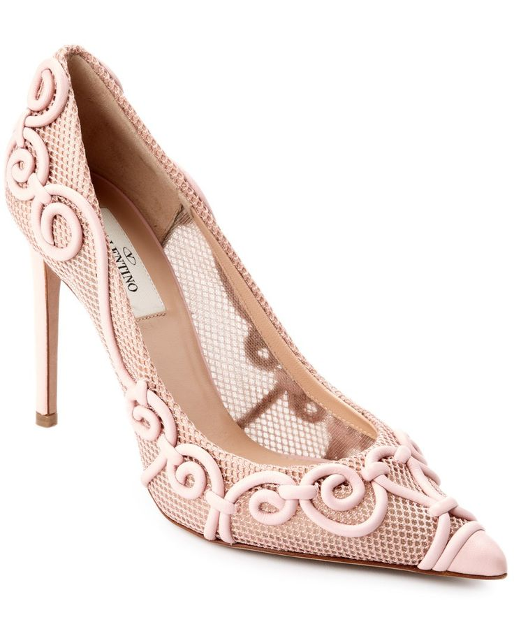 Valentino Arabesque Leather Pointy-Toe Pump Pink//