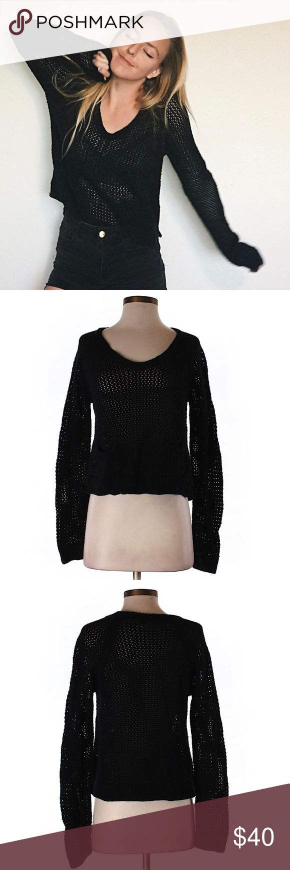 C&C CA sweater Sweater weather, baby! Can't get enough of that gorgeous crochet detailing and inky black shade. This is sucha wonderful staple for any wardrobe- & it's in wonderful condition❣️ C&C California Sweaters