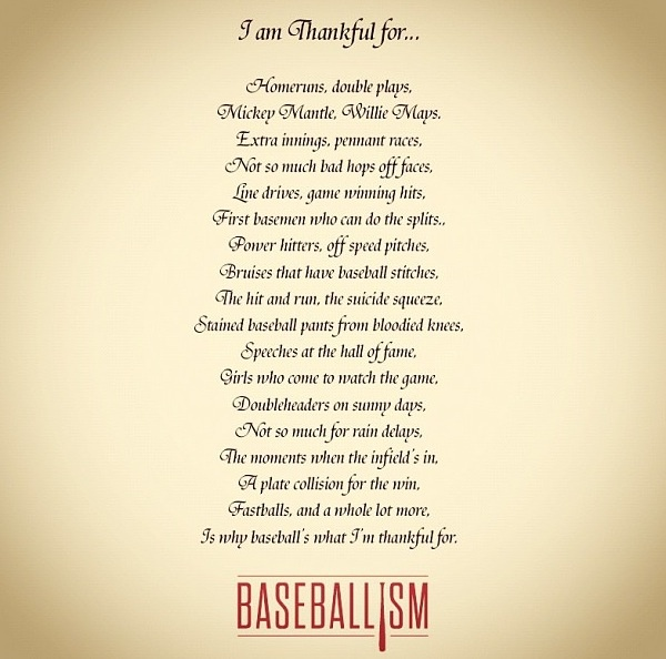 Baseballism why I'm thankful for baseball.