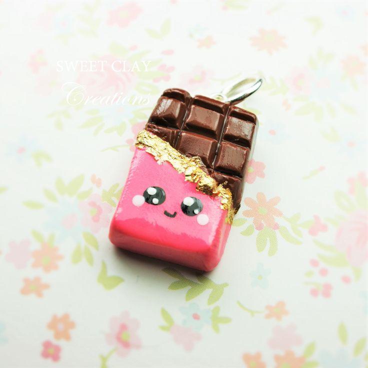 Chocolate Bar Kawaii Charm Polymer Clay Miniature Food Jewelry Handmade by Sweet Clay Creations