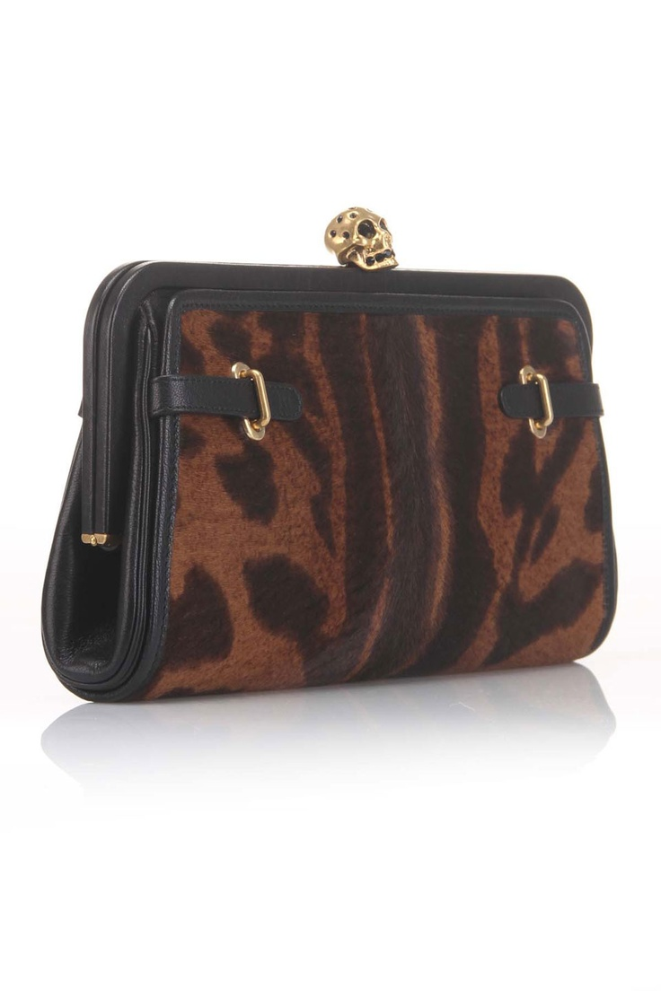 Alexander McQueen Pony Leather Clutch In Brown and Black