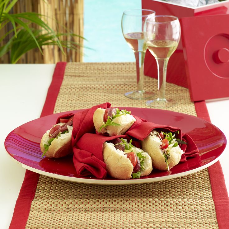 Perfect picnic! Patrizio bamboo round serving platter red $59.95 teamed with Avoca table runner red $29.95 - shop the look here http://www.oasishomewares.com/host-a-party/book-an-Oasis-party.html