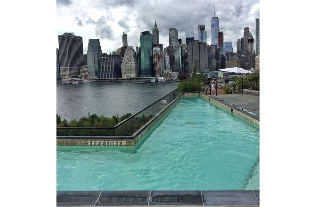 Plunge Pool At 1 Hotel Brooklyn Bridge New York N Y Exclusively For Guests The Rooftop Deck Of 1 Hotel Brooklyn Bridge Pool Rooftop Pool Beautiful Pools