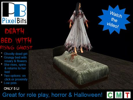 PB - Death bed with rising ghost. Spooky!