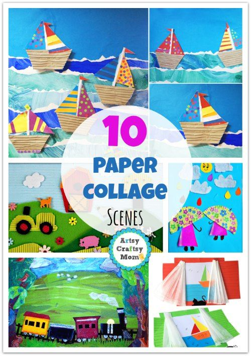Boats, Trains, farms and more! This collection of 10 paper collages are all colorful scenes! Great process art!