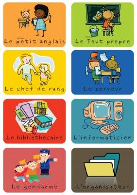 metiers responsabilités dans la classe ~ Enfin! Des choses en francais!!! Youpie!