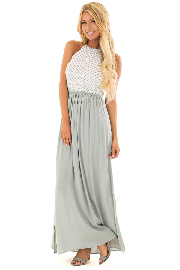 6163d3889c04 Lime Lush Boutique - Sage Halter Maxi Dress with Ivory and Charcoal Striped  Block