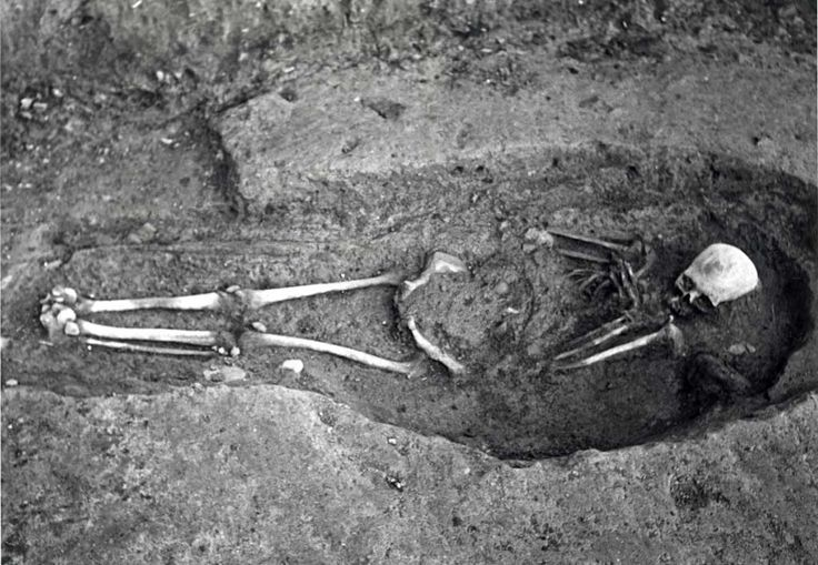 A Viking skeleton discovered during the archaeological excavation of Wood Quay in 1978. This photograph is just one of a number on the subject of Viking Dublin contained in the wider Dublin City Council Photographic Collection.
