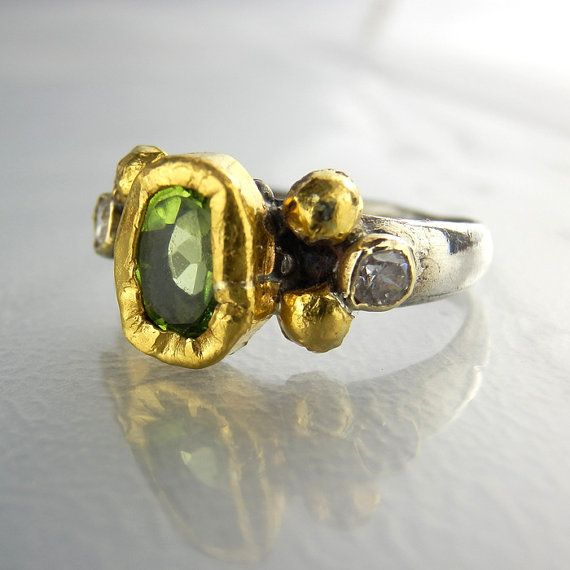 Peridot Jewelry, Cubic Zirconia Solid Gold Peridot Helena Ring, Unique Engagement Ring, Peridot Birthstone Ring