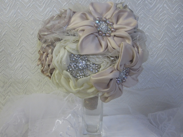 Ivory champagne and peach bridal bouquet Now available on eBay http://www.ebay.com.au/itm/271202943351?ssPageName=STRK:MESELX:IT&_trksid=p3984.m1586.l2649