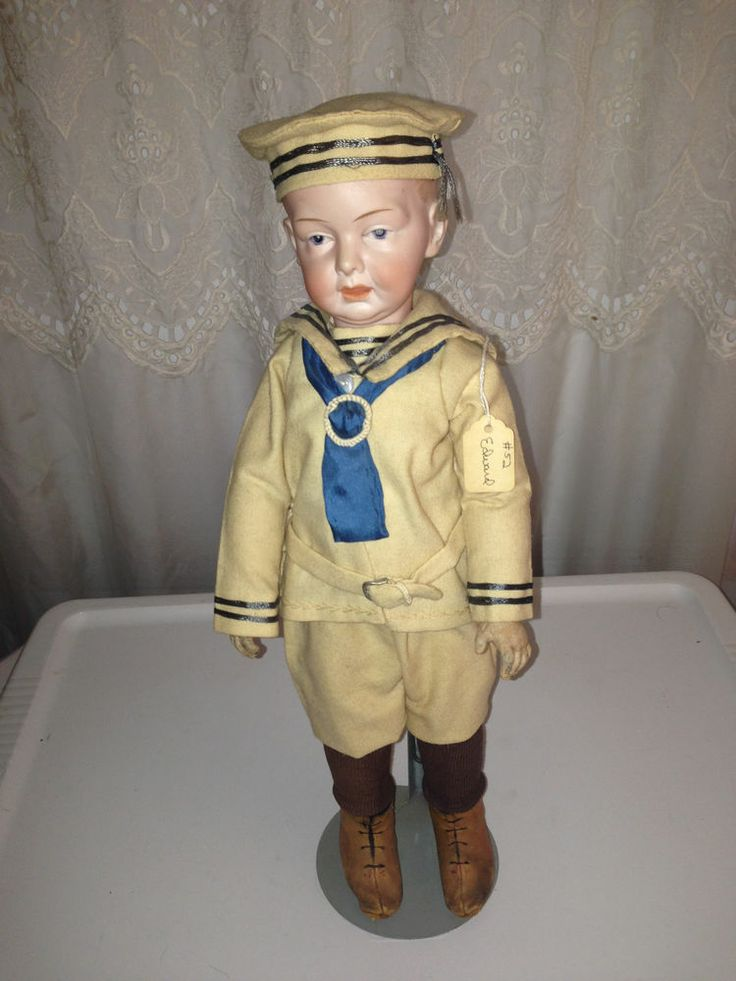 "17"" EINCO HEUBACH RARE GERMAN BISQUE JOINTED SOLID DOME HEAD ANTIQUE DOLL"