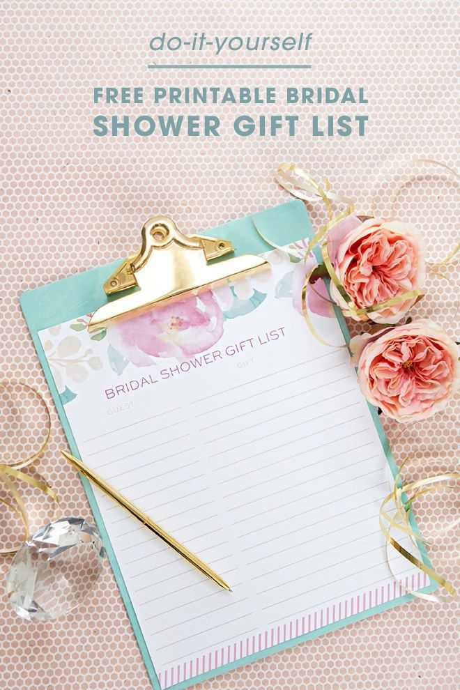 Bridal Shower Guest List Free Printable By Dressyourgift Lovely And Useful Bridetobe Wed Bridal Shower Gift List Bridal Shower Bingo Bridal Shower Presents