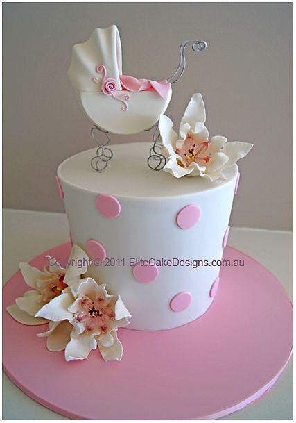 Pram & Lilies Christening Cake