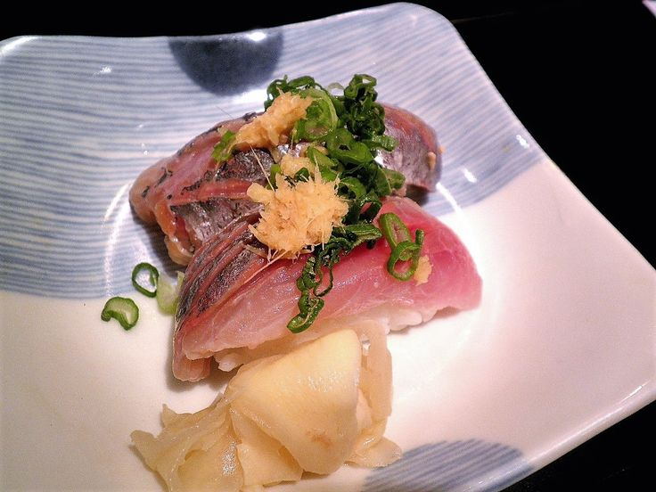 Aji Sushi - Spanish Mackerel with ginger and green onion