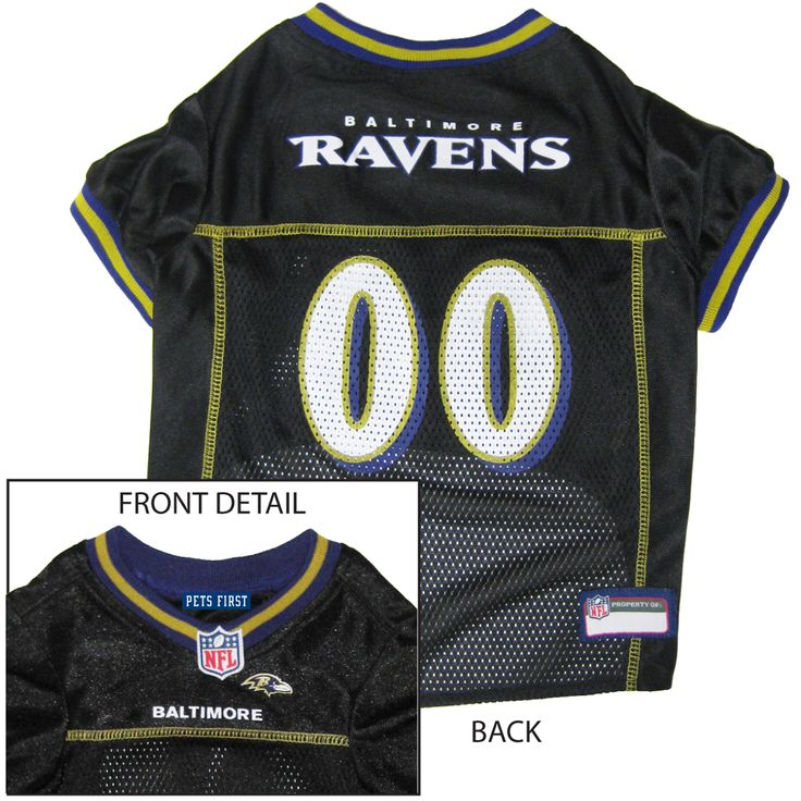 Collar Planet - Baltimore Ravens NFL Licensed Pet Dog Football Jersey (http://www.collarplanetonline.com/baltimore-ravens-nfl-licensed-pet-dog-football-jersey/) Show support for the Baltimore Ravens with this great looking football dog jersey which features a screened-on city name and a small team logo on the front.