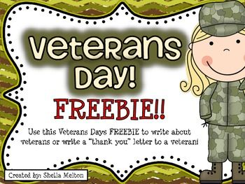 "Veterans Day is in November! Use this Veterans Day FREEBIE to have your students write about veterans or write a ""thank you"" letter to a veteran. Two versions of the themed writing paper included. Includes regular lines and primary lined paper.  It's the perfect addition to your Veterans Day Writing Center!"
