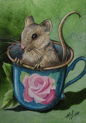 Teacup Mouse Miniature Art by Melody Lea Lamb door MelodyLeaLamb