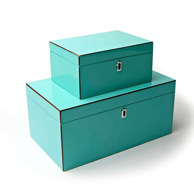 Fashion Jewelry Boxes In High Gloss Tiffany Blue Lacquer Sharing Luxury Designer Home Decor