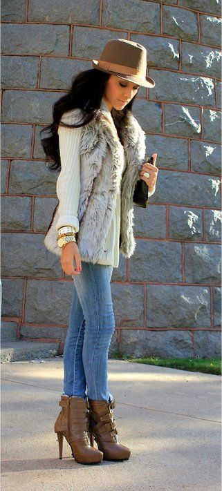 """""""Fedora!"""" - beautiful fedora hat with a off white long sleeve with a faux fur vest. denim jeans with high heeled ankle boots. #love"""