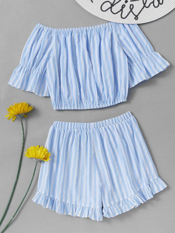 Bardot Contrast Striped Crop Top With Frill Hem Shorts -SheIn(Sheinside)