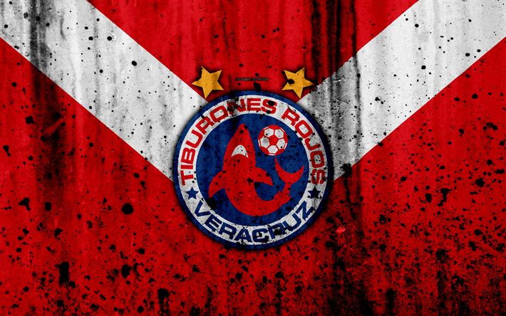 Download wallpapers Tiburones Rojos de Veracruz, Veracruz FC, 4k, grunge, stone texture, logo, emblem, Primera Division, Mexican football club, Veracruz, Mexico