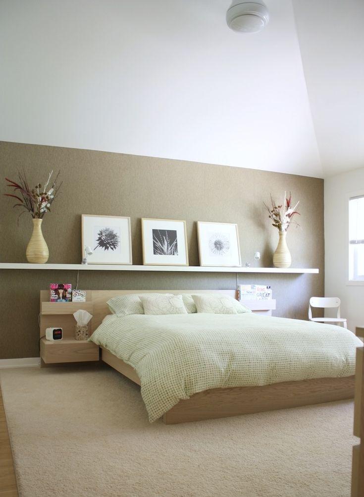 Astounding Bedroom Design Ideas With Floating Wooden Shelves Over Unfinished Cherry Wood Platform Bed On Cream Rug, Best IKEA Bedroom Furniture Design Ideas: Bedroom, Furniture
