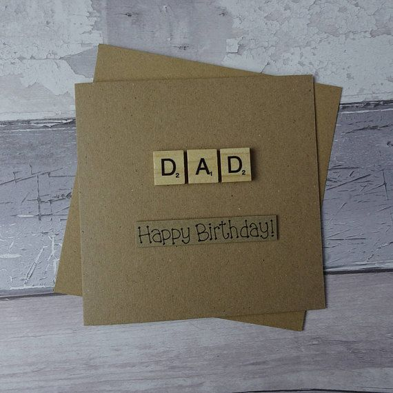 Dad birthday card Father's Day Scrabble tile card