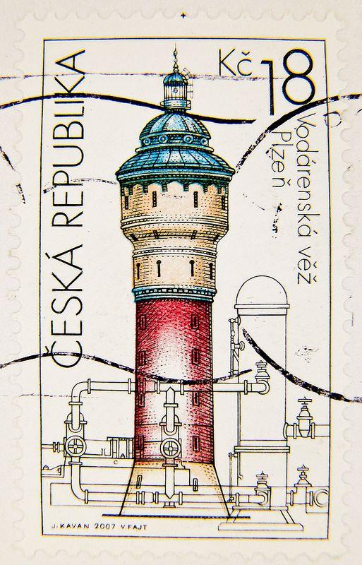 Czechia Ceska 18 Kc (1907 a.d., water tower of Pilsner Urquell Brewery, Wasserturm, Château d'eau, Torre de agua,