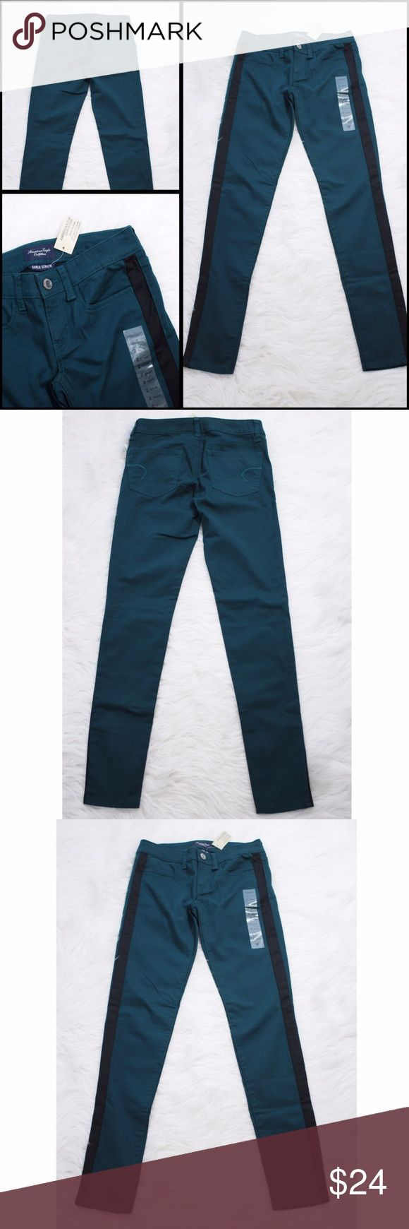 AEO American Eagle Outfitters Jeggings Teal 2 AEO American Eagle Outfitters  Dark Teal Jeggings  Black Stripe Down Side of Leg Super Stretch  Size Marked: Womens 2   Approximate Measurements Laying Flat: Waist: 28 Rise: 7 Inseam: 30.5 Leg Opening: 9  Locator# 0810-004 undefined Jeans Skinny