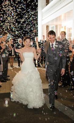 A wedding bubble send off.