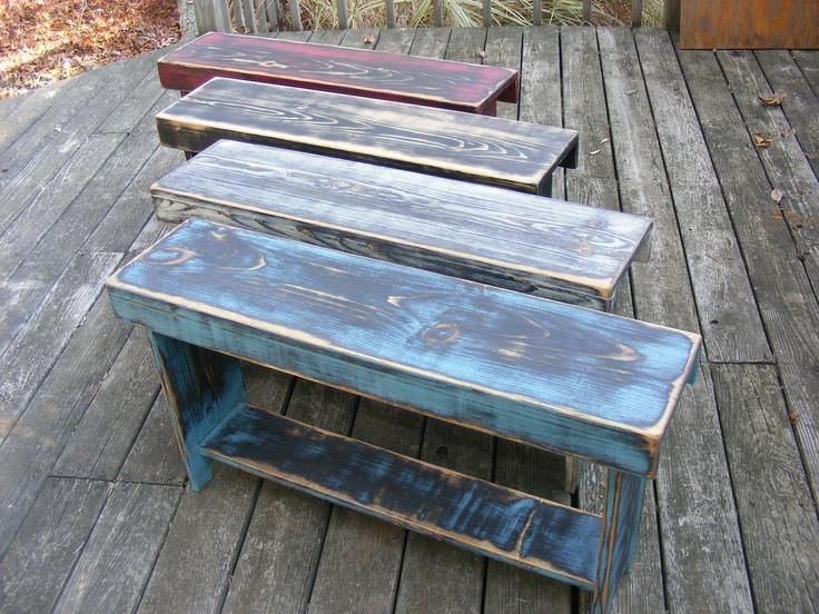 Weathered Primitive Farmhouse bench. $80.00, via Etsy.