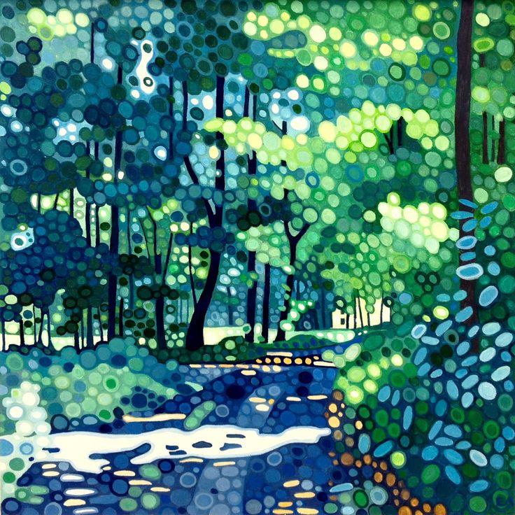 Ewa Adams By the Meadow Acrylic on Board 30 x 30 cm  #Art #Acrylic #Paintings #Woods #Trees