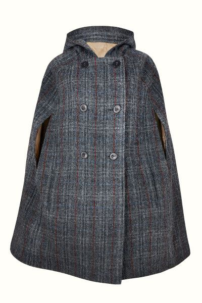 Birkin Dusk Hooded - A wardrobe must have for all year around, this cape is luxuriously crafted in a dark check from Harris Tweed; world renowned for it's heritage, style and quality. With a large, slouched hood you will be kept dry and warm.