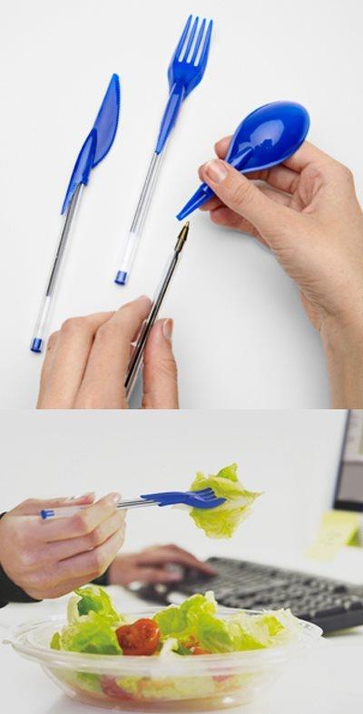 Muy Interesante !    Via: http://www.fredflare.com/WHAT-S-NEW/Dine-Ink-Pen-Utensil-Set/