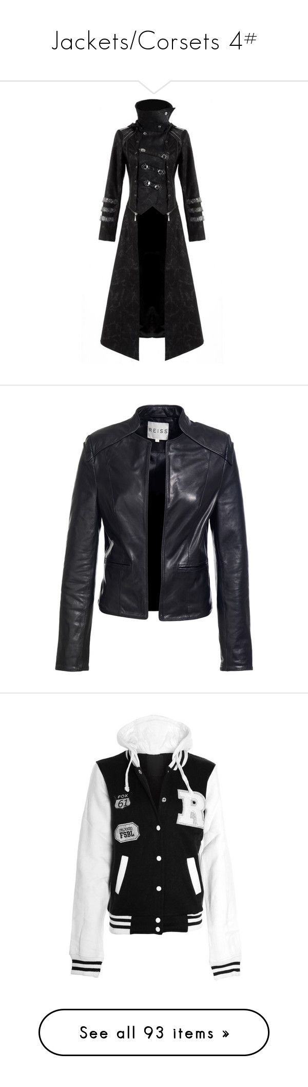 """""""Jackets/Corsets 4#"""" by randeemalloy ❤ liked on Polyvore featuring outerwear, coats, jackets, dresses, long jacket, long line jacket, goth coat, steampunk coat, longline jacket and leather jackets"""