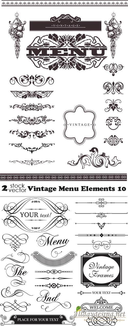 Винтажные элементы оформления меню, разделители и уголки, векторный клипарт