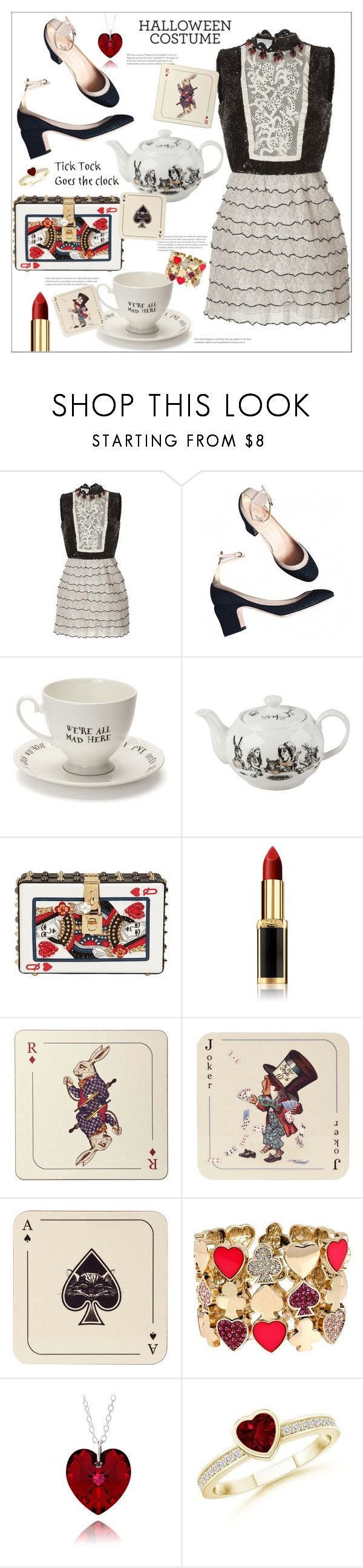 """""""The Queen of Hearts"""" by arwitaa on Polyvore featuring Valentino, Mrs Moore, Dolce&Gabbana, L'Oréal Paris, Avenida Home and Betsey Johnson"""